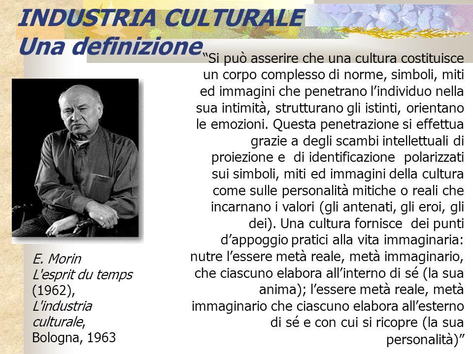 INDUSTRIA CULTURALE Una definizione E. Morin L'esprit du temps (1962), L'industria culturale, Bologna, 1963 Si può asserire che una cultura costituisc