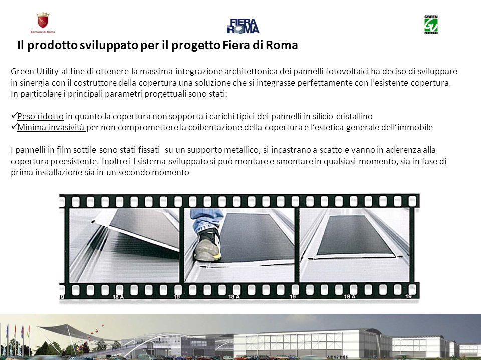 Il prodotto sviluppato per il progetto Fiera di Roma Green Utility al fine di ottenere la massima integrazione architettonica dei pannelli fotovoltaici ha deciso di sviluppare in sinergia con il costruttore della copertura una soluzione che si integrasse perfettamente con lesistente copertura.