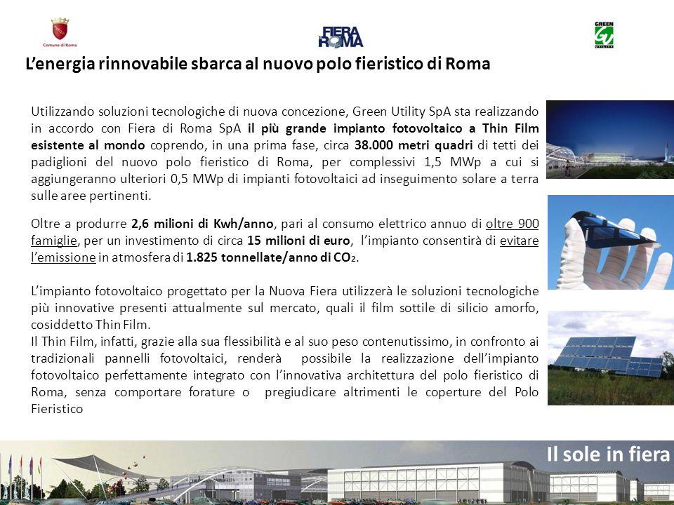 Il sole in fiera Utilizzando soluzioni tecnologiche di nuova concezione, Green Utility SpA sta realizzando in accordo con Fiera di Roma SpA il più gra