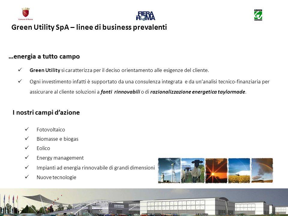 Green Utility SpA – linee di business prevalenti Green Utility si caratterizza per il deciso orientamento alle esigenze del cliente. Ogni investimento