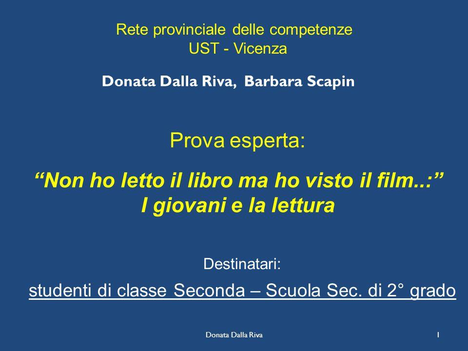 Donata Dalla Riva1 Prova esperta: Non ho letto il libro ma ho visto il film..: I giovani e la lettura Destinatari: studenti di classe Seconda – Scuola