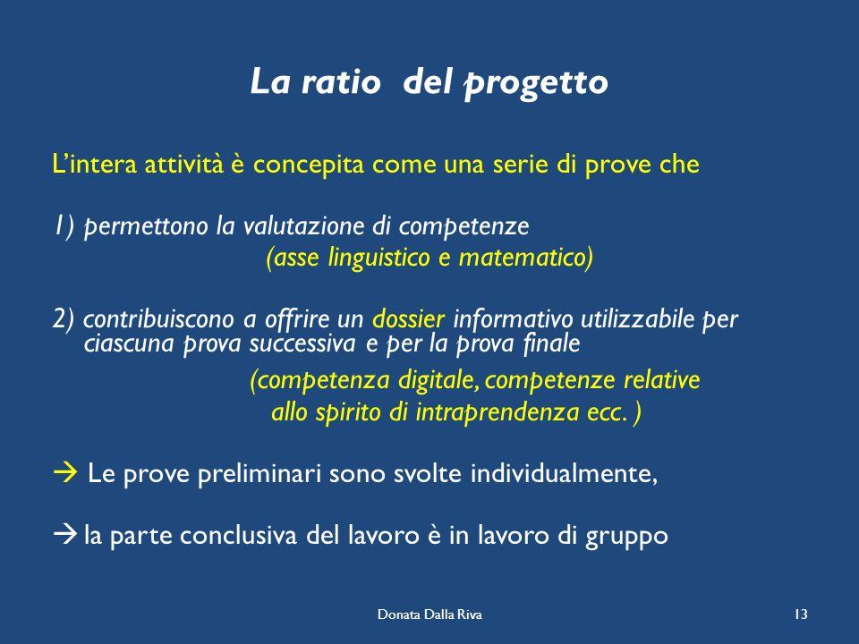 Donata Dalla Riva13 La ratio del progetto Lintera attività è concepita come una serie di prove che 1)permettono la valutazione di competenze (asse lin