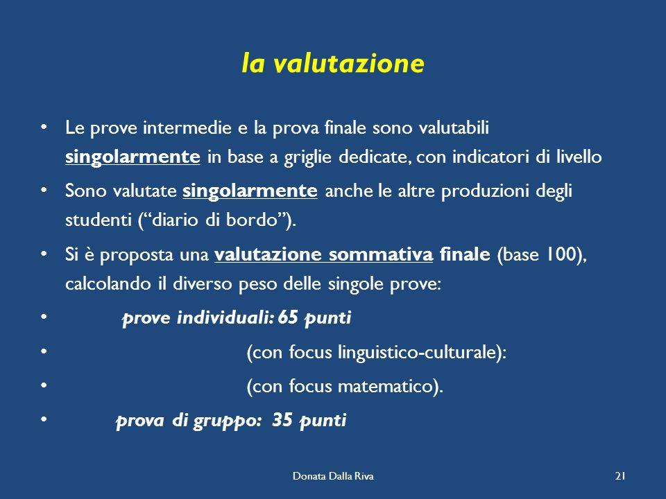 Donata Dalla Riva21 la valutazione Le prove intermedie e la prova finale sono valutabili singolarmente in base a griglie dedicate, con indicatori di l