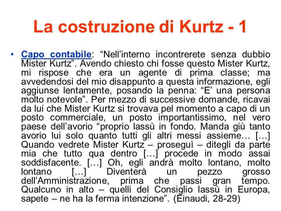 La costruzione di Kurtz - 1 Capo contabile: Nellinterno incontrerete senza dubbio Mister Kurtz. Avendo chiesto chi fosse questo Mister Kurtz, mi rispo
