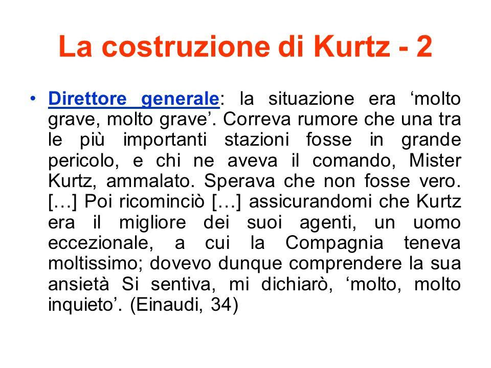 La costruzione di Kurtz - 2 Direttore generale: la situazione era molto grave, molto grave. Correva rumore che una tra le più importanti stazioni foss