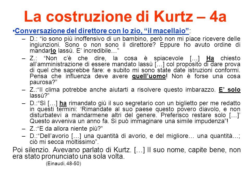 La costruzione di Kurtz – 4a Conversazione del direttore con lo zio, il macellaio: –D.: io sono più inoffensivo di un bambino, però non mi piace ricevere delle ingiunzioni.