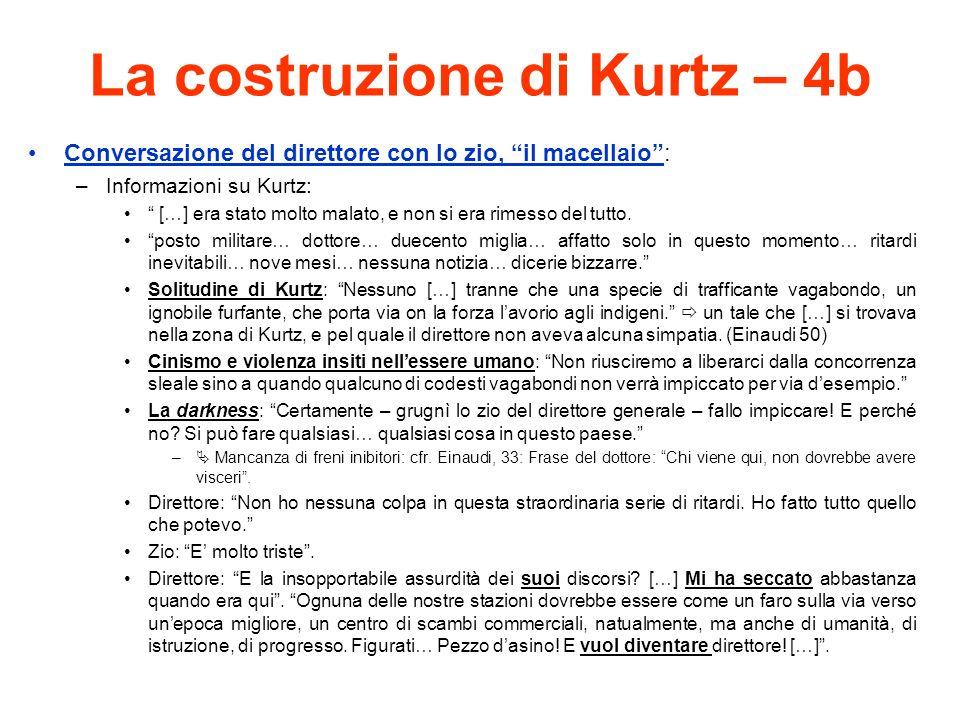 La costruzione di Kurtz – 4b Conversazione del direttore con lo zio, il macellaio: –Informazioni su Kurtz: […] era stato molto malato, e non si era rimesso del tutto.