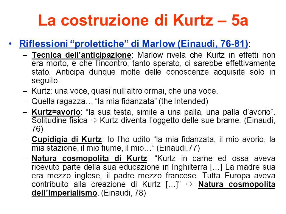 La costruzione di Kurtz – 5a Riflessioni prolettiche di Marlow (Einaudi, 76-81): –Tecnica dellanticipazione: Marlow rivela che Kurtz in effetti non era morto, e che lincontro, tanto sperato, ci sarebbe effettivamente stato.