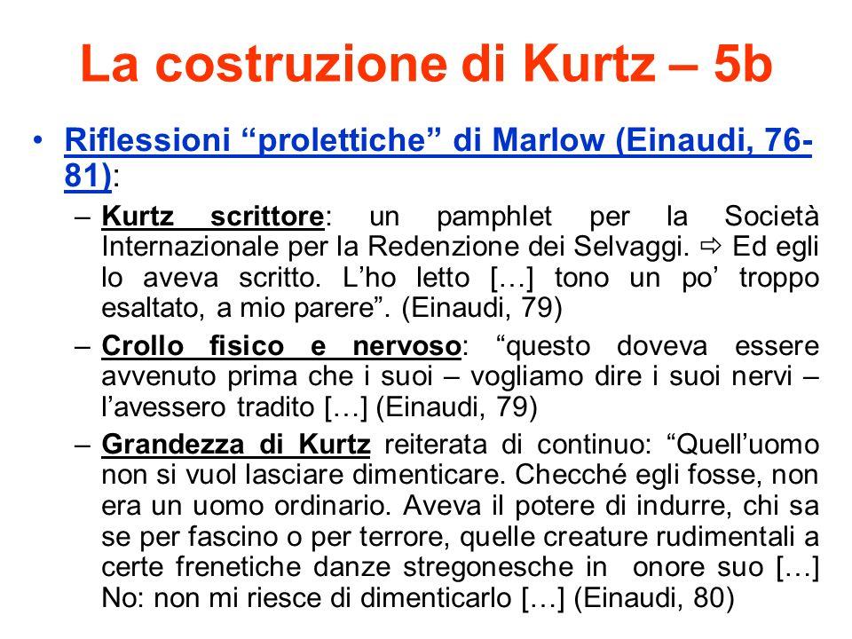 La costruzione di Kurtz – 5b Riflessioni prolettiche di Marlow (Einaudi, 76- 81): –Kurtz scrittore: un pamphlet per la Società Internazionale per la R