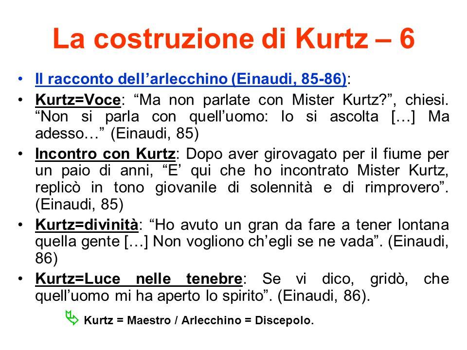 La costruzione di Kurtz – 6 Il racconto dellarlecchino (Einaudi, 85-86): Kurtz=Voce: Ma non parlate con Mister Kurtz?, chiesi. Non si parla con quellu