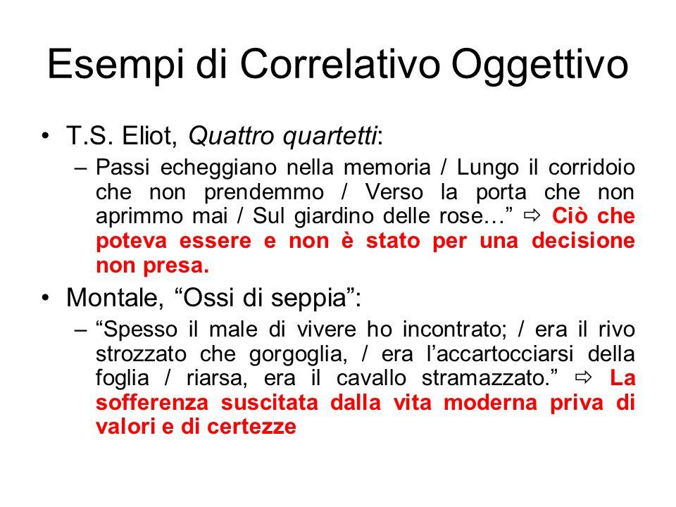Esempi di Correlativo Oggettivo T.S. Eliot, Quattro quartetti: –Passi echeggiano nella memoria / Lungo il corridoio che non prendemmo / Verso la porta