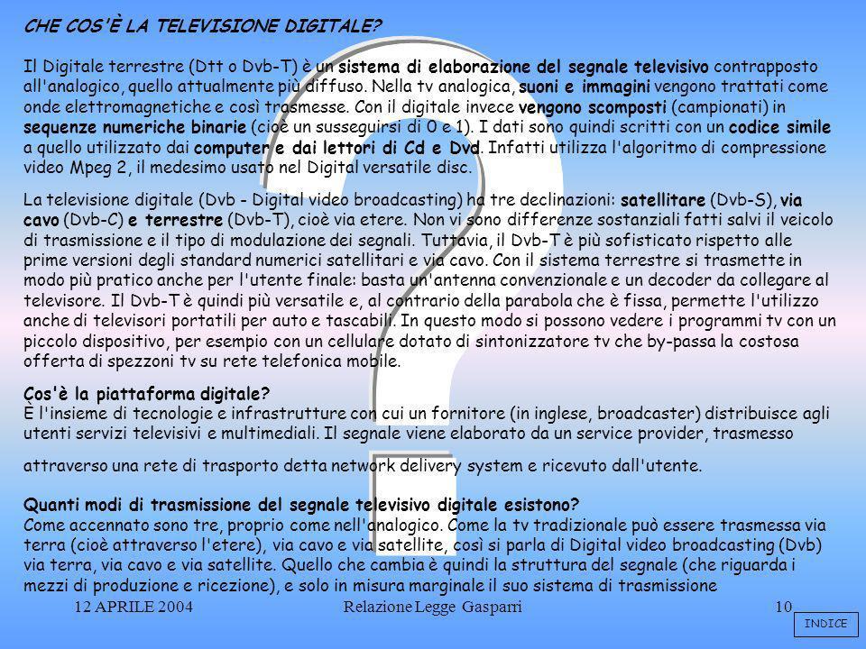 12 APRILE 2004Relazione Legge Gasparri10 CHE COS È LA TELEVISIONE DIGITALE.
