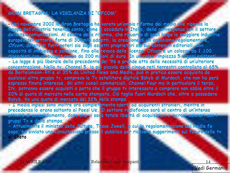 12 APRILE 2004Relazione Legge Gasparri14 GRAN BRETAGNA: LA VIGILANZA DI OFCOM - Nel novembre 2002 la Gran Bretagna ha varato unampia riforma dei media che ripensa la mappa dellindustria tenendo conto, come è accaduto in Italia, della convergenza con il settore delle telecomunicazioni.