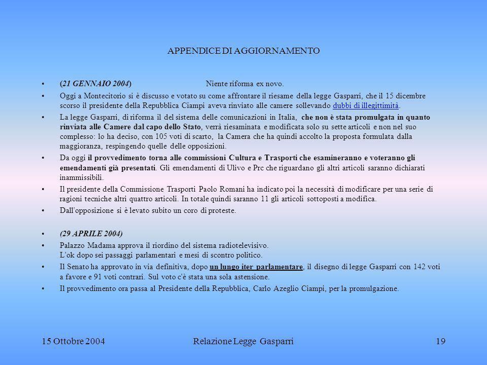 APPENDICE DI AGGIORNAMENTO (21 GENNAIO 2004) Niente riforma ex novo.