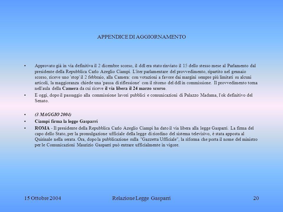 APPENDICE DI AGGIORNAMENTO Approvato già in via definitiva il 2 dicembre scorso, il ddl era stato rinviato il 15 dello stesso mese al Parlamento dal presidente della Repubblica Carlo Azeglio Ciampi.