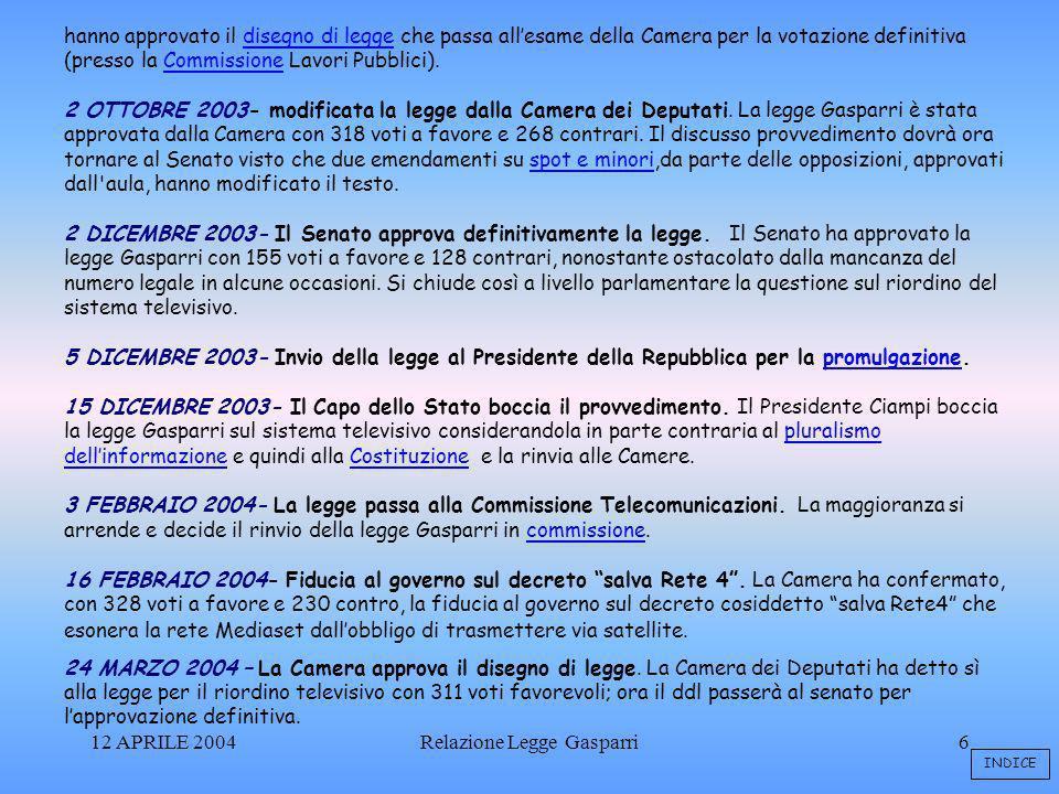 12 APRILE 2004Relazione Legge Gasparri6 hanno approvato il disegno di legge che passa allesame della Camera per la votazione definitiva (presso la Commissione Lavori Pubblici).disegno di leggeCommissione 2 OTTOBRE 2003- modificata la legge dalla Camera dei Deputati.