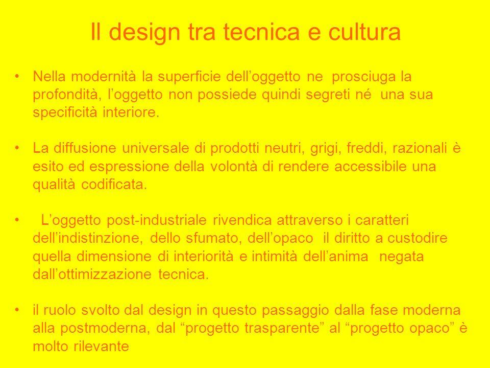 Il design tra tecnica e cultura Nella modernità la superficie delloggetto ne prosciuga la profondità, loggetto non possiede quindi segreti né una sua specificità interiore.
