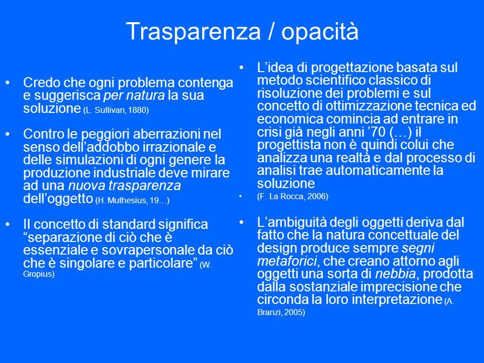 Trasparenza / opacità Credo che ogni problema contenga e suggerisca per natura la sua soluzione (L.