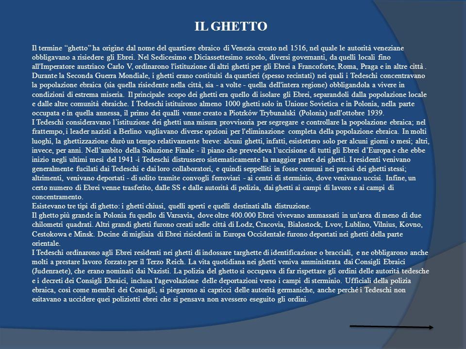IL GHETTO Il termine ghetto ha origine dal nome del quartiere ebraico di Venezia creato nel 1516, nel quale le autorità veneziane obbligavano a risied