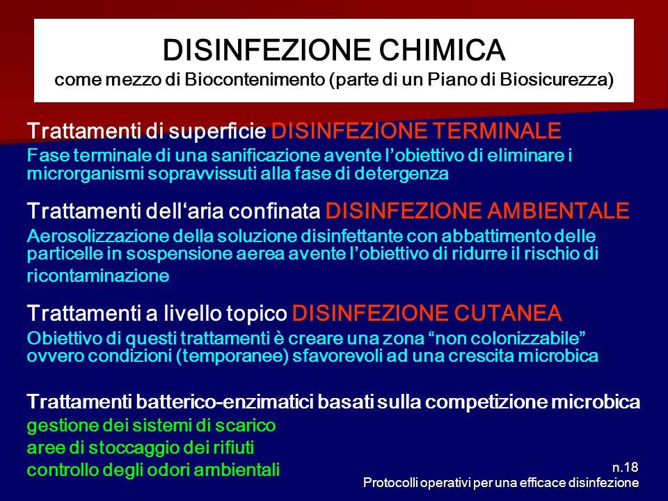 n.18 Protocolli operativi per una efficace disinfezione DISINFEZIONE CHIMICA come mezzo di Biocontenimento (parte di un Piano di Biosicurezza) Trattam