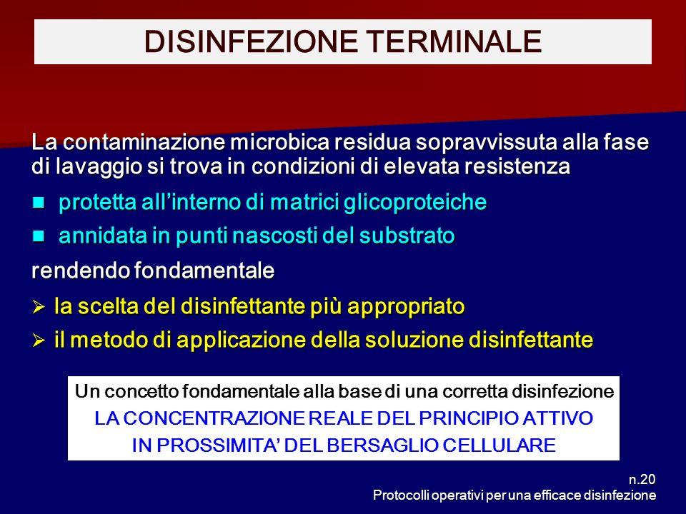 n.20 Protocolli operativi per una efficace disinfezione La contaminazione microbica residua sopravvissuta alla fase di lavaggio si trova in condizioni