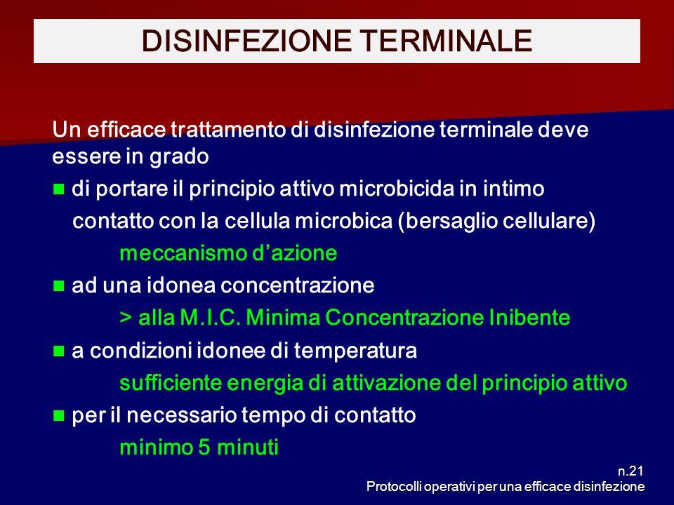 n.21 Protocolli operativi per una efficace disinfezione Un efficace trattamento di disinfezione terminale deve essere in grado di portare il principio