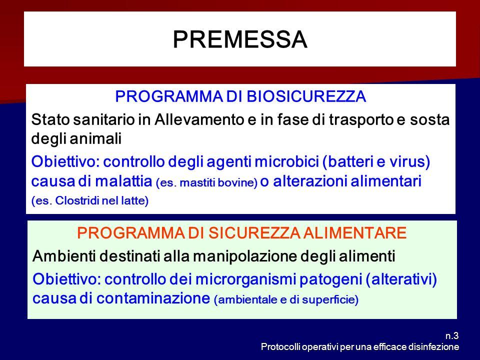 n.3 Protocolli operativi per una efficace disinfezione PREMESSA PROGRAMMA DI BIOSICUREZZA Stato sanitario in Allevamento e in fase di trasporto e sost