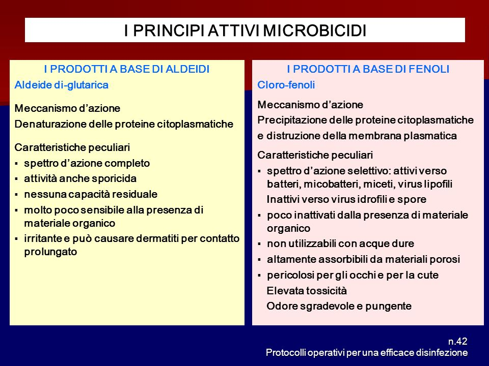 n.42 Protocolli operativi per una efficace disinfezione I PRINCIPI ATTIVI MICROBICIDI I PRODOTTI A BASE DI ALDEIDI Aldeide di-glutarica Meccanismo daz