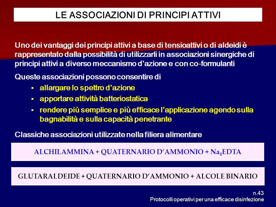 n.43 Protocolli operativi per una efficace disinfezione LE ASSOCIAZIONI DI PRINCIPI ATTIVI Uno dei vantaggi dei principi attivi a base di tensioattivi