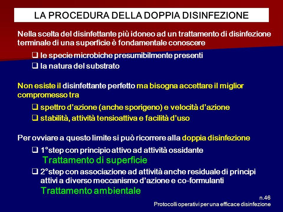 n.46 Protocolli operativi per una efficace disinfezione LA PROCEDURA DELLA DOPPIA DISINFEZIONE Nella scelta del disinfettante più idoneo ad un trattam