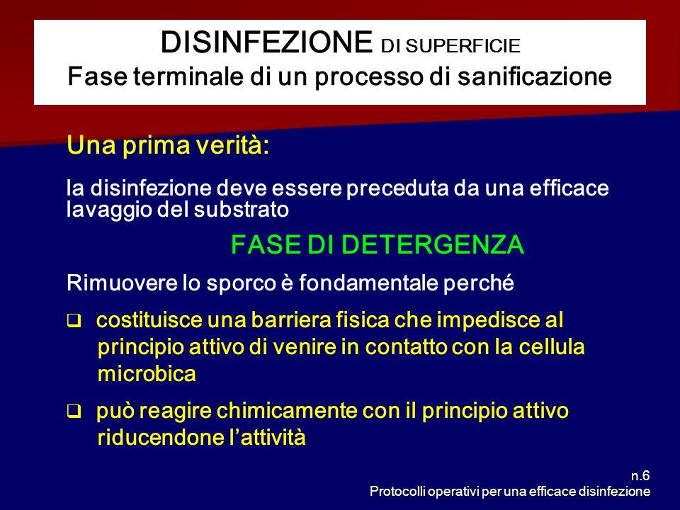 n.7 Protocolli operativi per una efficace disinfezione Si definisce SANIFICAZIONE linsieme di due trattamenti distinti e successivi DETERGENZA + DISINFEZIONE LA SANIFICAZIONE
