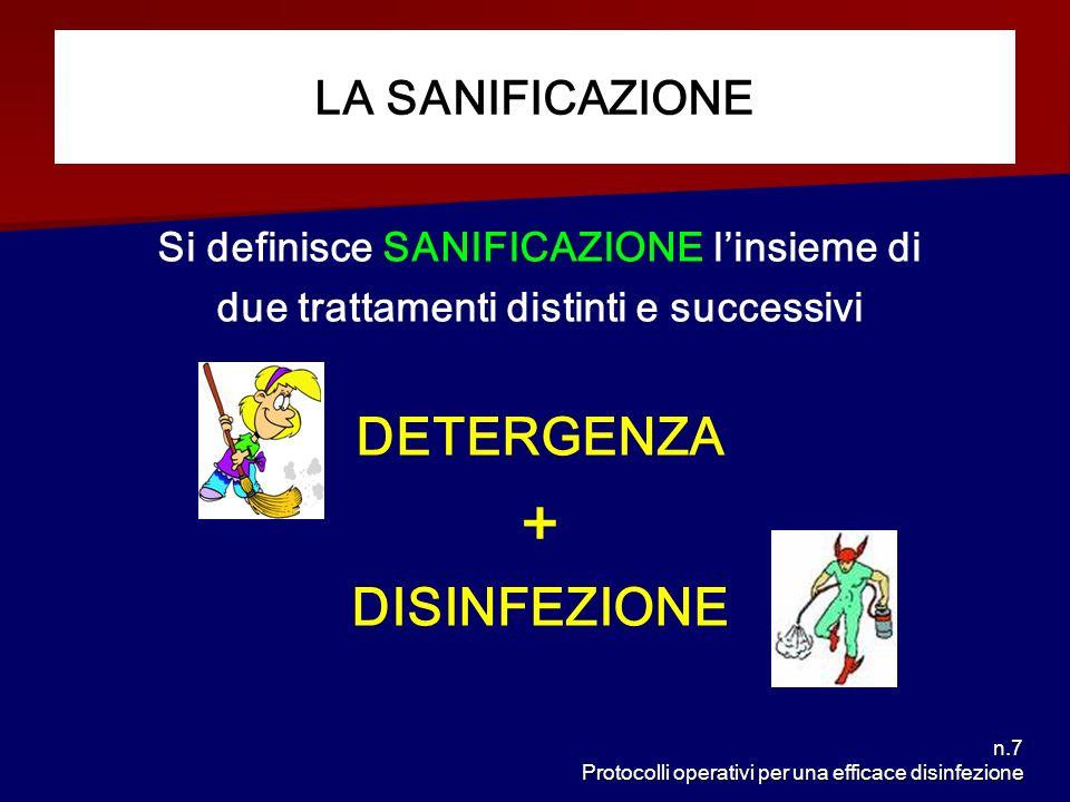 n.7 Protocolli operativi per una efficace disinfezione Si definisce SANIFICAZIONE linsieme di due trattamenti distinti e successivi DETERGENZA + DISIN