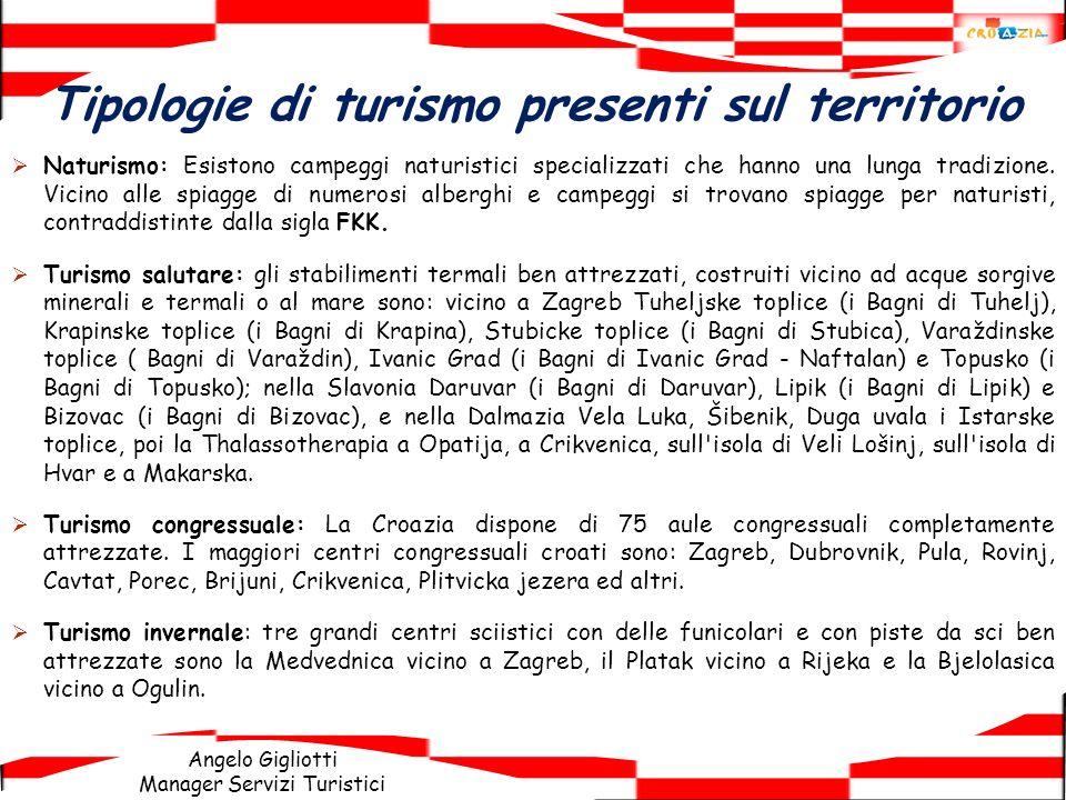 Angelo Gigliotti Manager Servizi Turistici Tipologie di turismo presenti sul territorio Naturismo: Esistono campeggi naturistici specializzati che han