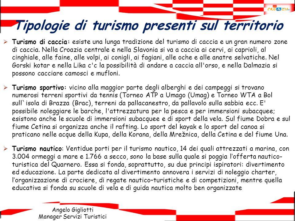 Angelo Gigliotti Manager Servizi Turistici Tipologie di turismo presenti sul territorio Turismo di caccia: esiste una lunga tradizione del turismo di