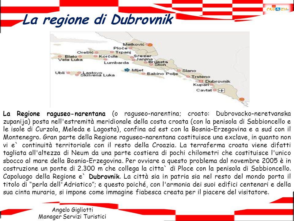 Angelo Gigliotti Manager Servizi Turistici La regione di Dubrovnik La Regione raguseo-narentana (o raguseo-narentina; croato: Dubrovacko-neretvanska z