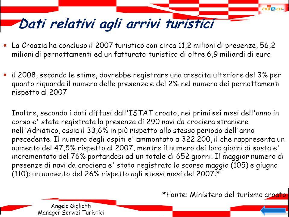 Angelo Gigliotti Manager Servizi Turistici Dati relativi agli arrivi turistici La Croazia ha concluso il 2007 turistico con circa 11,2 milioni di pres