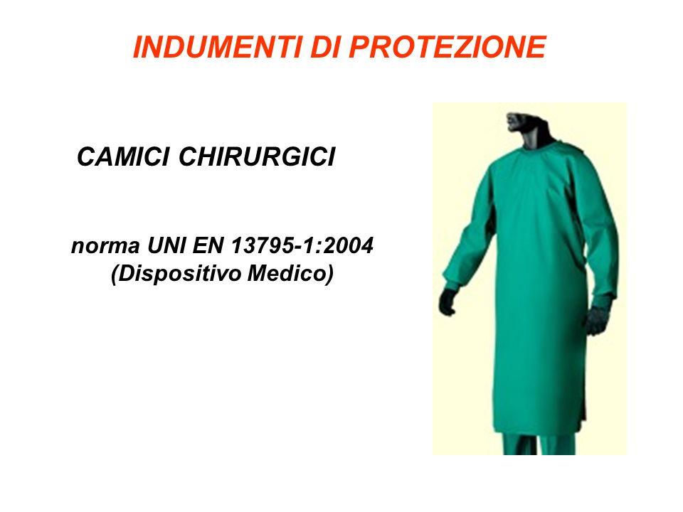 INDUMENTI DI PROTEZIONE CAMICI CHIRURGICI norma UNI EN 13795-1:2004 (Dispositivo Medico)