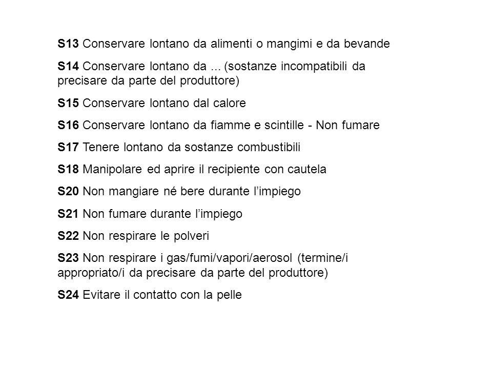 S13 Conservare lontano da alimenti o mangimi e da bevande S14 Conservare lontano da... (sostanze incompatibili da precisare da parte del produttore) S