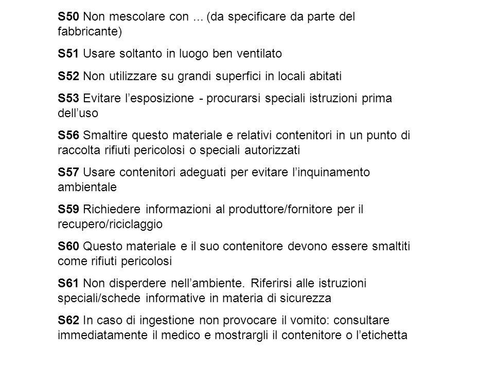 S50 Non mescolare con... (da specificare da parte del fabbricante) S51 Usare soltanto in luogo ben ventilato S52 Non utilizzare su grandi superfici in