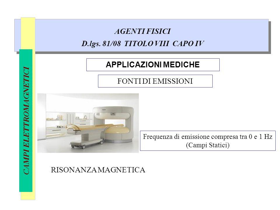 AGENTI FISICI D.lgs. 81/08 TITOLO VIII CAPO IV CAMPI ELETTROMAGNETICI APPLICAZIONI MEDICHE FONTI DI EMISSIONI RISONANZA MAGNETICA Frequenza di emissio