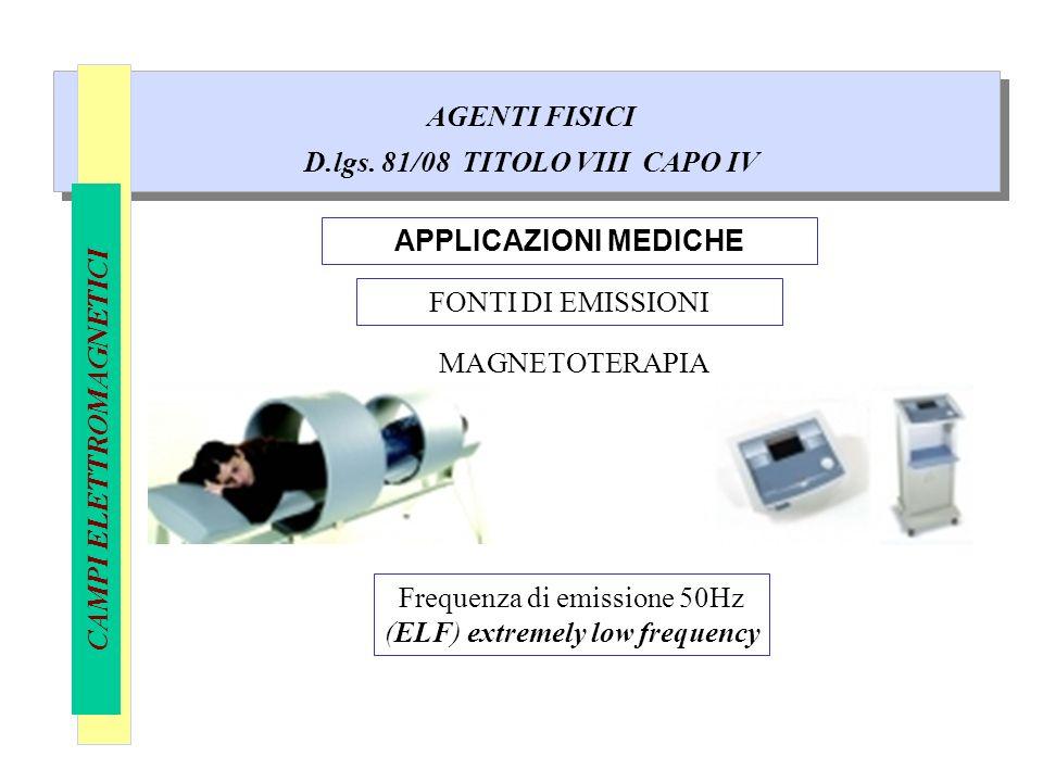 AGENTI FISICI D.lgs. 81/08 TITOLO VIII CAPO IV CAMPI ELETTROMAGNETICI APPLICAZIONI MEDICHE MAGNETOTERAPIA FONTI DI EMISSIONI Frequenza di emissione 50