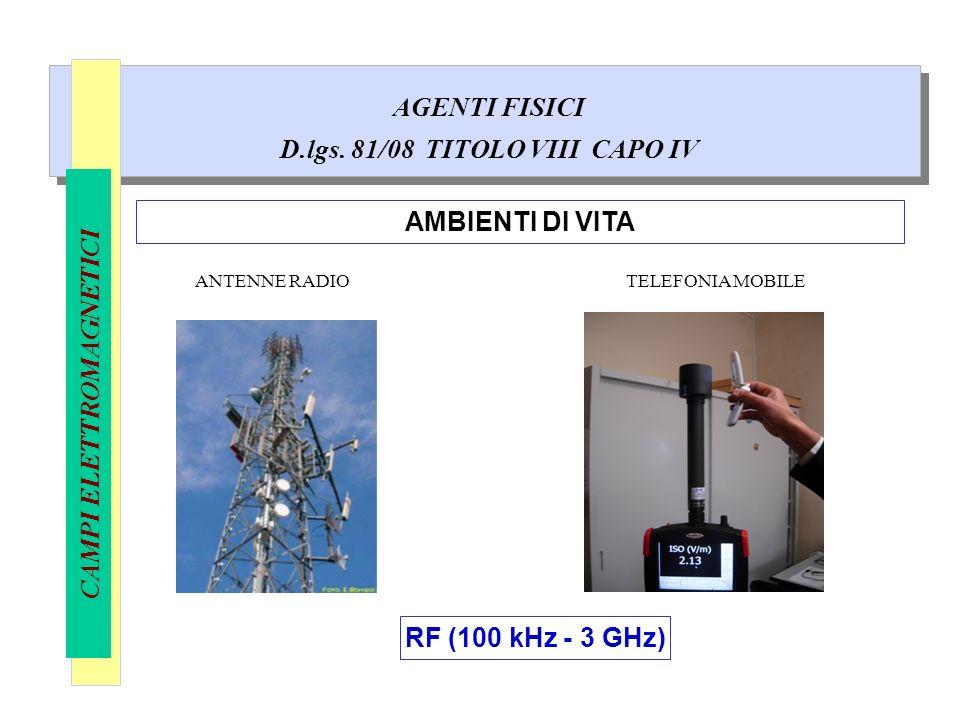 AGENTI FISICI D.lgs. 81/08 TITOLO VIII CAPO IV CAMPI ELETTROMAGNETICI AMBIENTI DI VITA ANTENNE RADIO RF (100 kHz - 3 GHz) TELEFONIA MOBILE