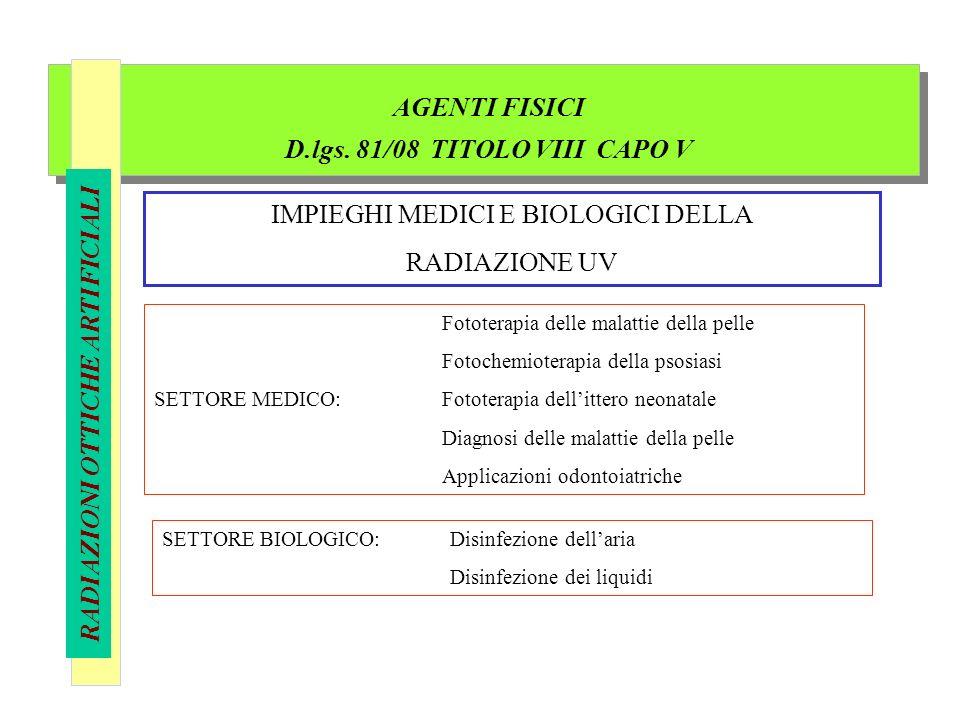 AGENTI FISICI D.lgs. 81/08 TITOLO VIII CAPO V RADIAZIONI OTTICHE ARTIFICIALI IMPIEGHI MEDICI E BIOLOGICI DELLA RADIAZIONE UV Fototerapia delle malatti