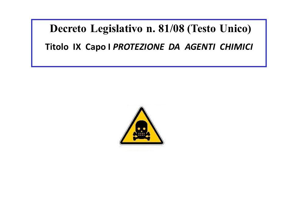 Decreto Legislativo n. 81/08 (Testo Unico) Titolo IX Capo I PROTEZIONE DA AGENTI CHIMICI