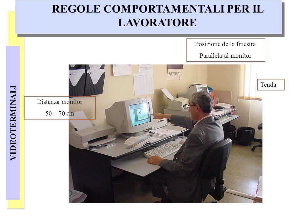 VIDEOTERMINALI REGOLE COMPORTAMENTALI PER IL LAVORATORE Distanza monitor 50 – 70 cm Posizione della finestra Parallela al monitor Tenda