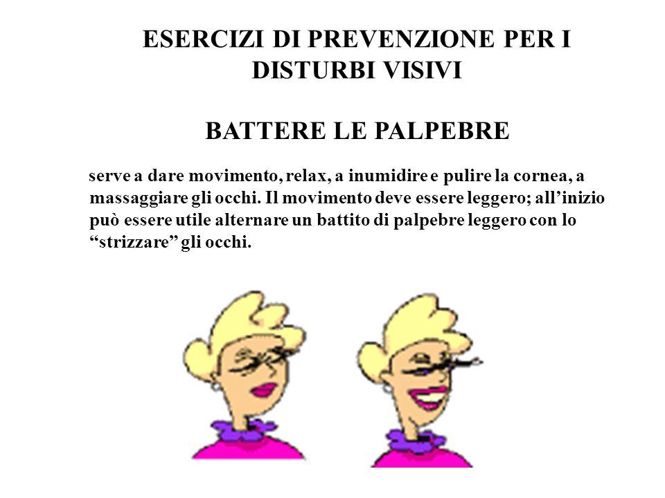 ESERCIZI DI PREVENZIONE PER I DISTURBI VISIVI BATTERE LE PALPEBRE serve a dare movimento, relax, a inumidire e pulire la cornea, a massaggiare gli occ
