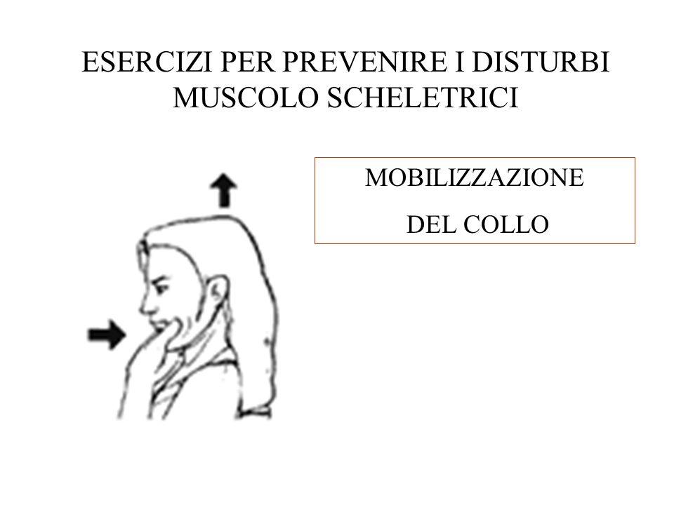 ESERCIZI PER PREVENIRE I DISTURBI MUSCOLO SCHELETRICI MOBILIZZAZIONE DEL COLLO