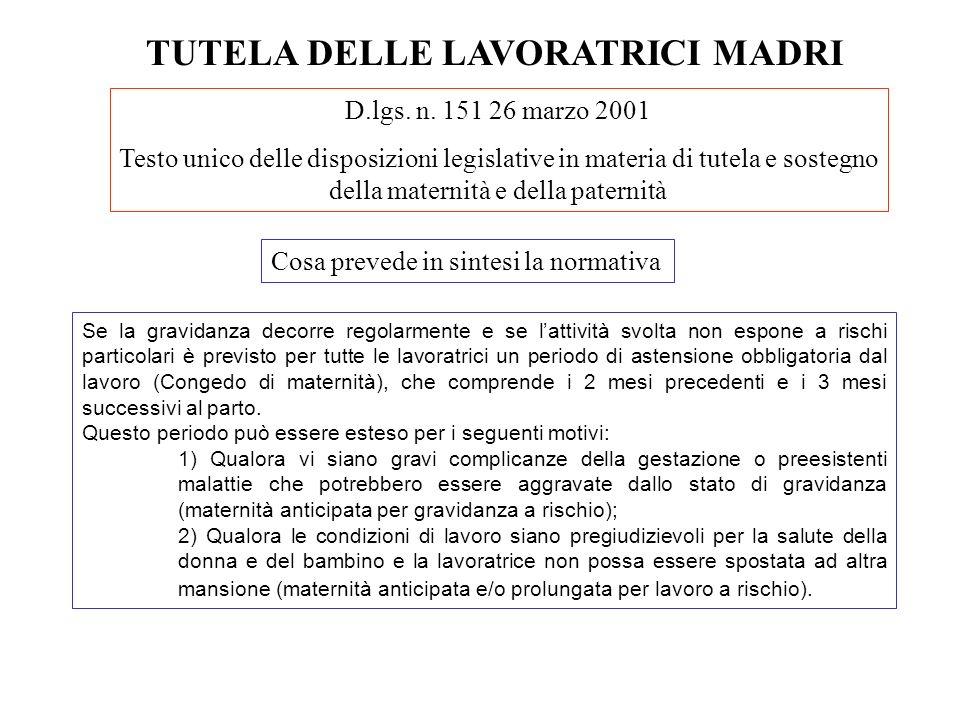 TUTELA DELLE LAVORATRICI MADRI D.lgs. n. 151 26 marzo 2001 Testo unico delle disposizioni legislative in materia di tutela e sostegno della maternità