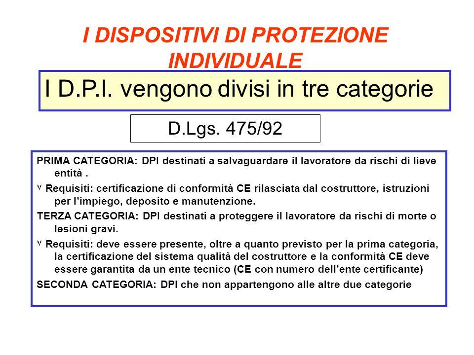 I DISPOSITIVI DI PROTEZIONE INDIVIDUALE PRIMA CATEGORIA: DPI destinati a salvaguardare il lavoratore da rischi di lieve entità. ۷ Requisiti: certifica
