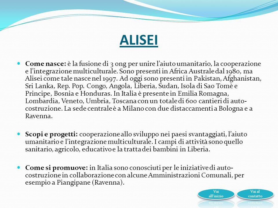 ALISEI Come nasce: è la fusione di 3 ong per unire laiuto umanitario, la cooperazione e lintegrazione multiculturale.